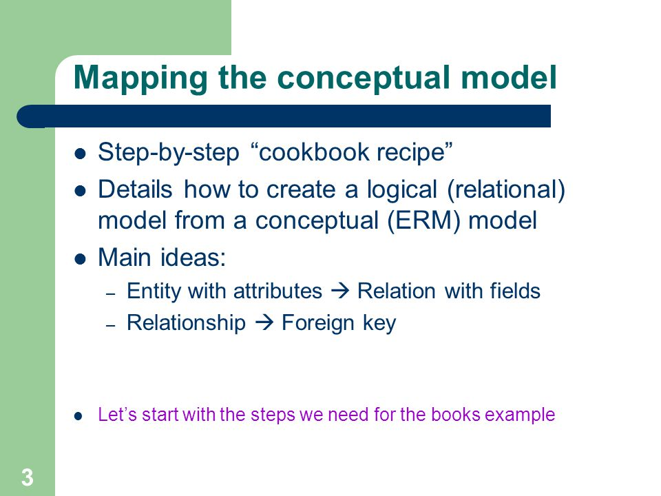 Mapping the conceptual model