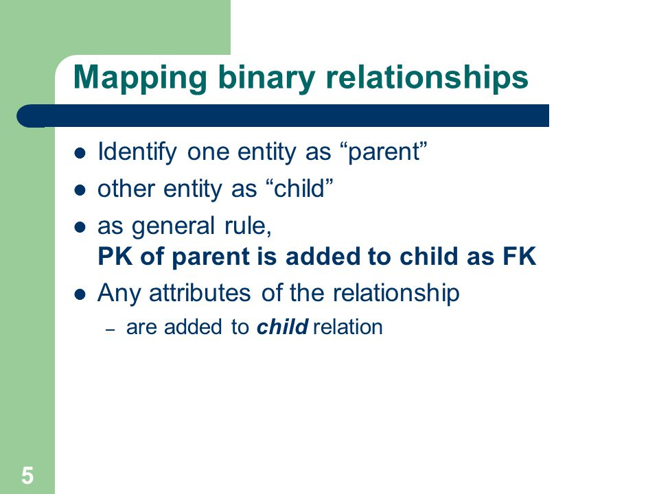 Mapping binary relationships