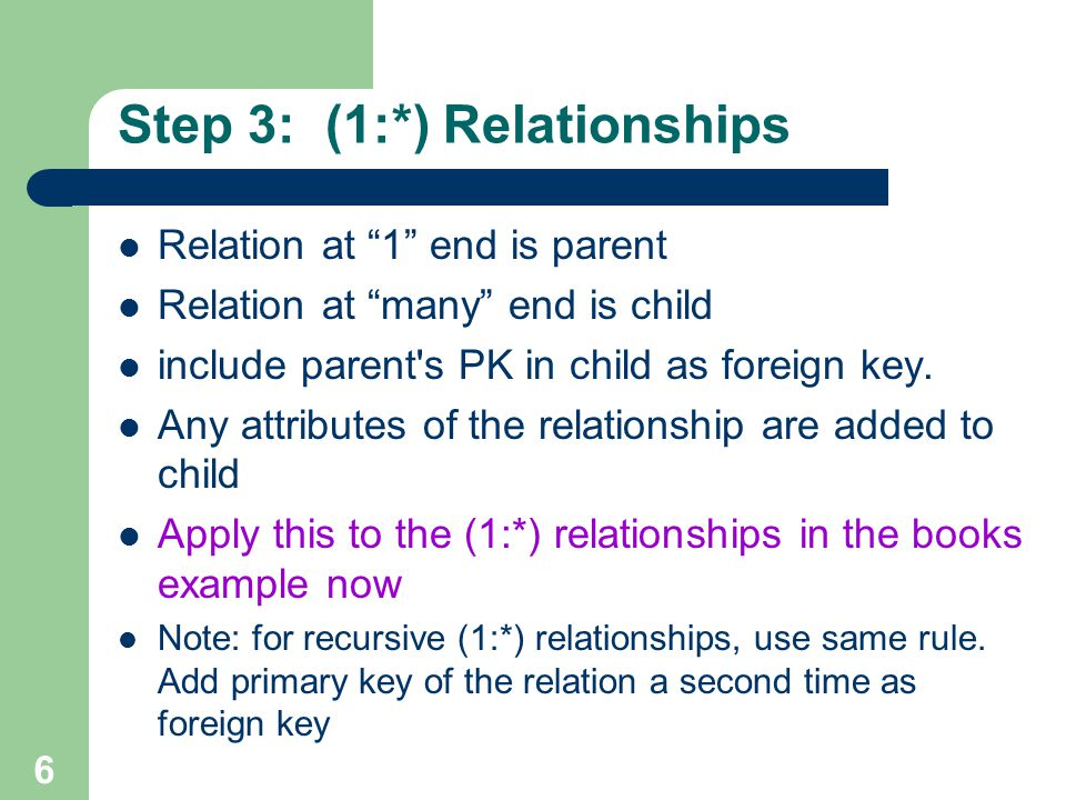 Step 3: (1:*) Relationships