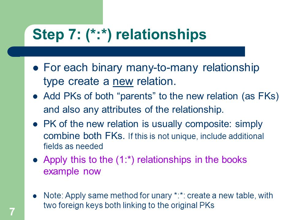 Step 7: (*:*) relationships