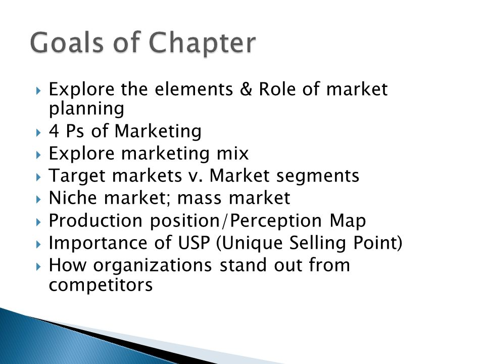 Goals of Chapter Explore the elements & Role of market planning