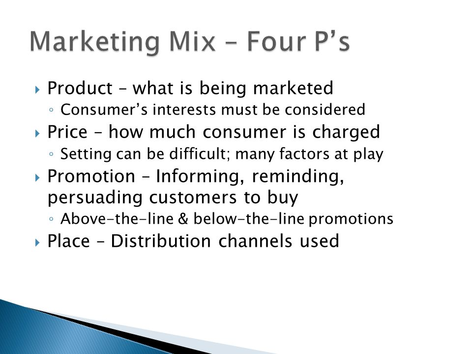 Marketing Mix – Four P's