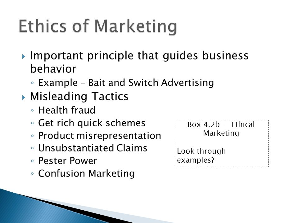 Box 4.2b - Ethical Marketing