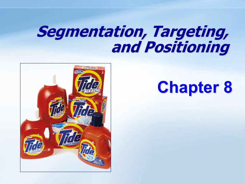 Objectives Be able to define the three steps of target marketing: market segmentation, target marketing, and market positioning.
