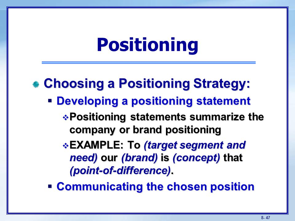 Objectives Be able to define the three steps of target marketing ...