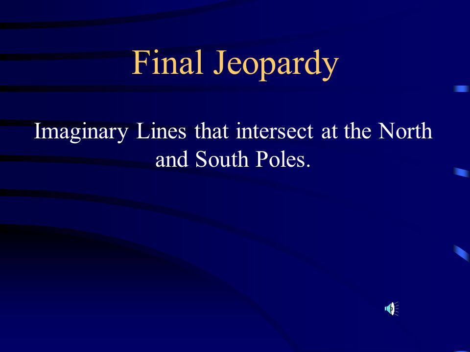 Imaginary Lines that intersect at the North and South Poles.