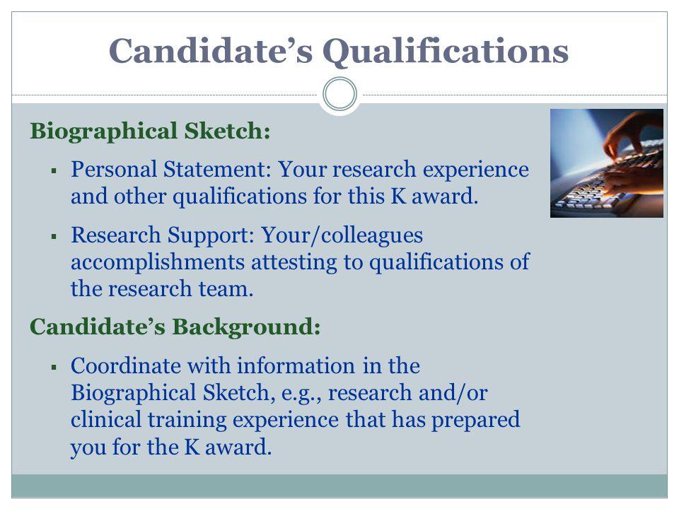 Personal statement biosketch nih example & Fresh Essays