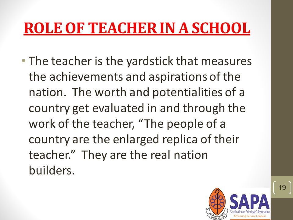 speech on role of teacher in nation The role of a teacher in society is both significant and valuableit has far-reaching influence on the society he lives in and no other personality can have an influence more profound than that of a teacher.