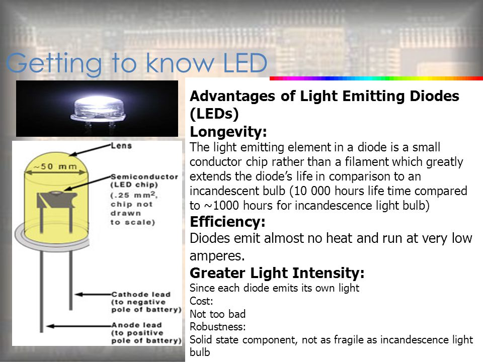 Getting to know LED Advantages of Light Emitting Diodes (LEDs)