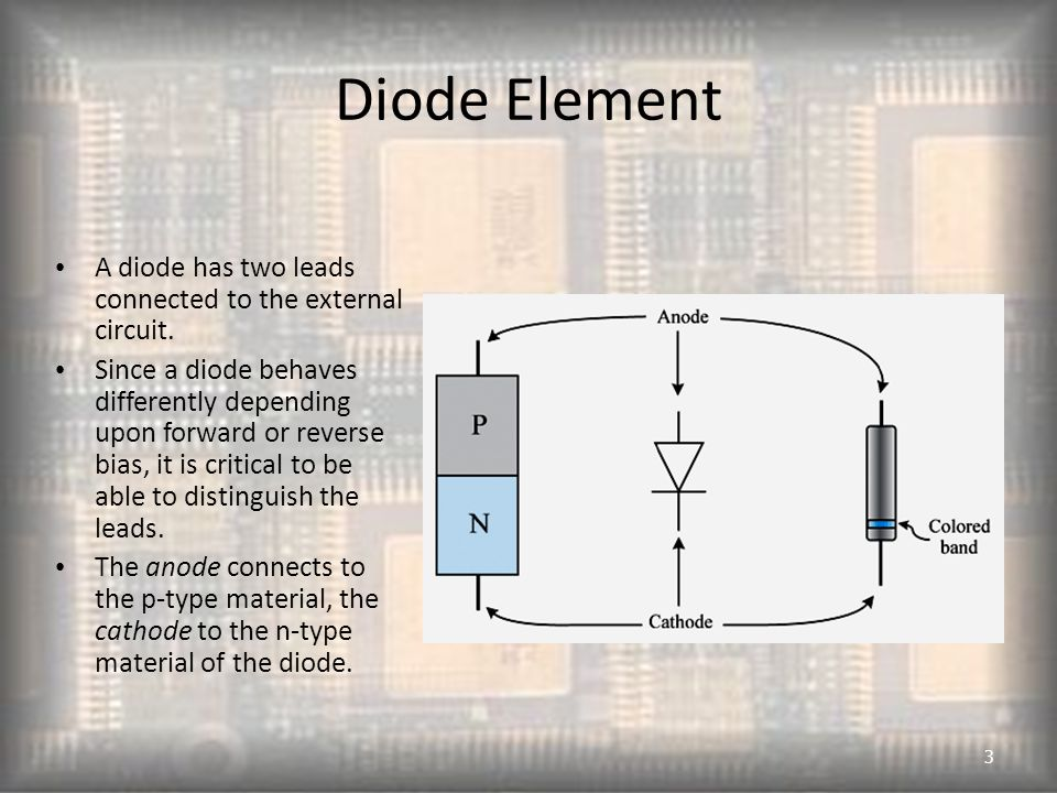 Diode Element A diode has two leads connected to the external circuit.