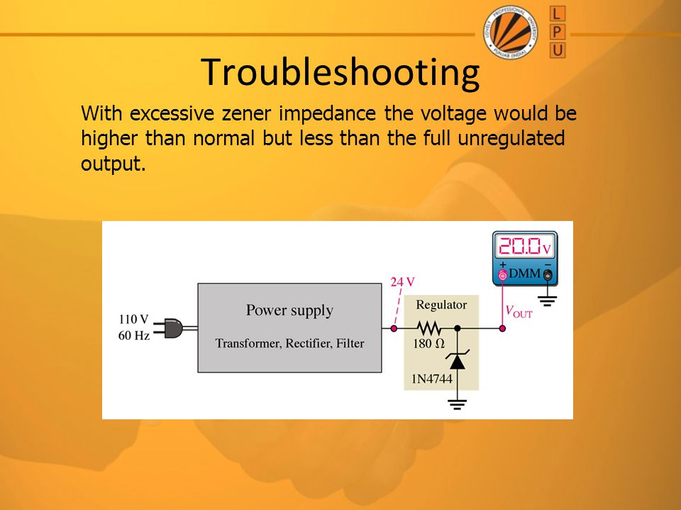 Troubleshooting With excessive zener impedance the voltage would be higher than normal but less than the full unregulated output.