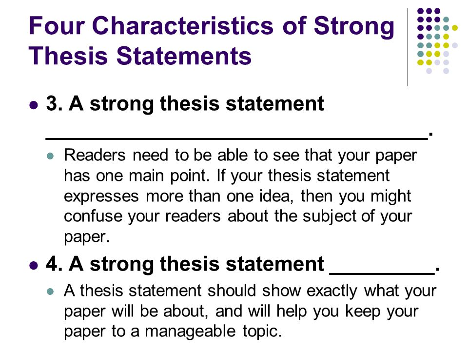 strong thesis examples Get an answer for 'what is a good thesis statement for abortion i just need a complex sentence to get me started although i have thought of some already, they are.