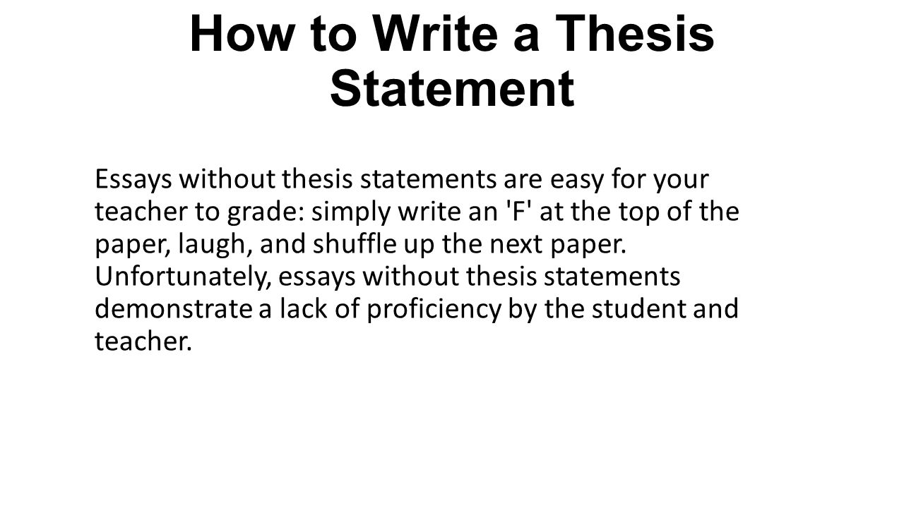 Teaching the Thesis Sentence | Institute for Writing and