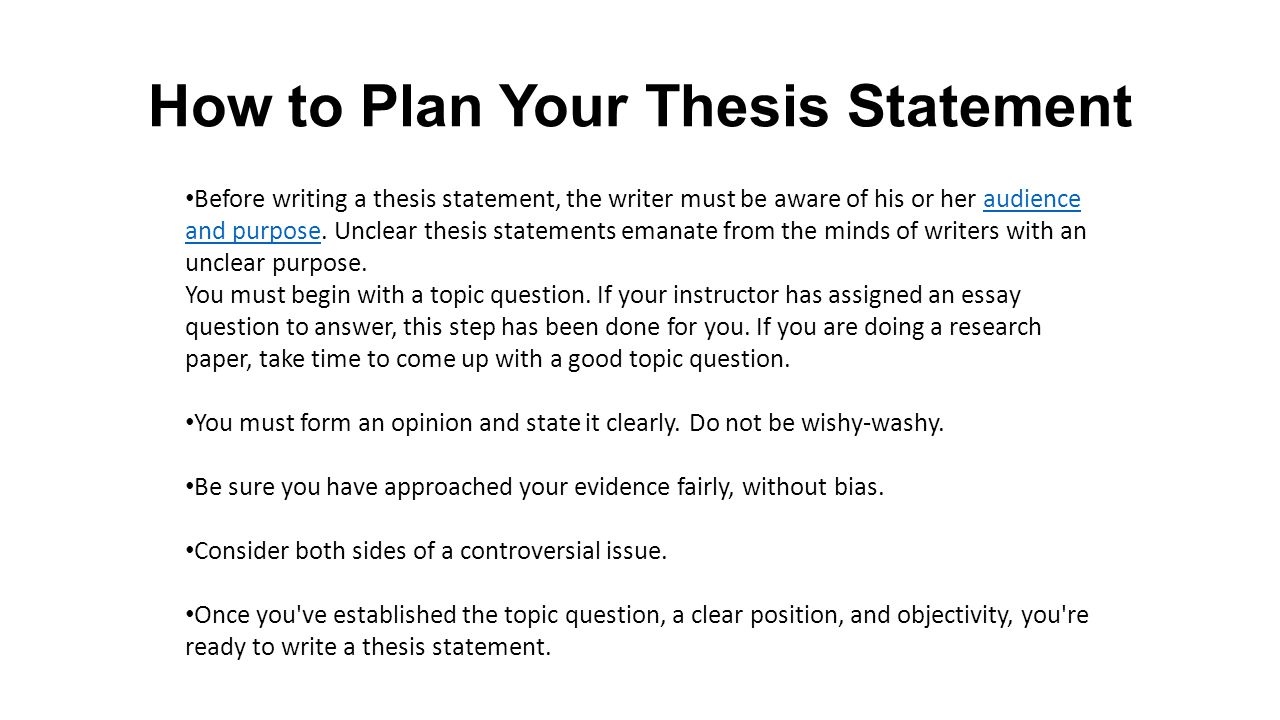 Exceptionnel How To Plan Your Thesis Statement