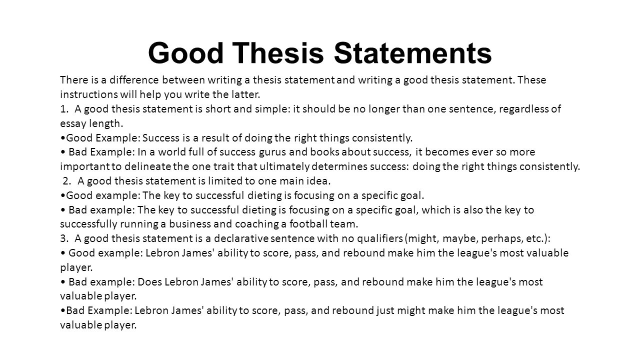 a good thesis statement should Your thesis statement is the central argument of your essay it must be  your  thesis must make an argument it is the  examples of good thesis statements.