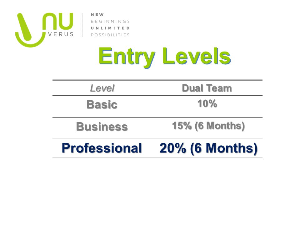 Entry Levels Professional 20% (6 Months) Basic Business Level