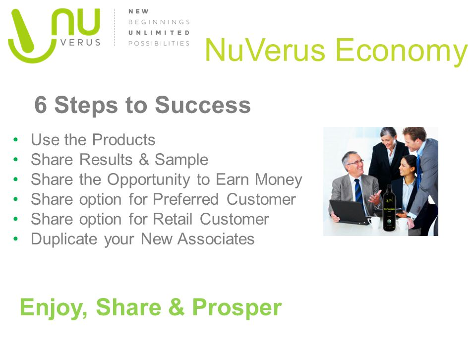 NuVerus Economy 6 Steps to Success Enjoy, Share & Prosper