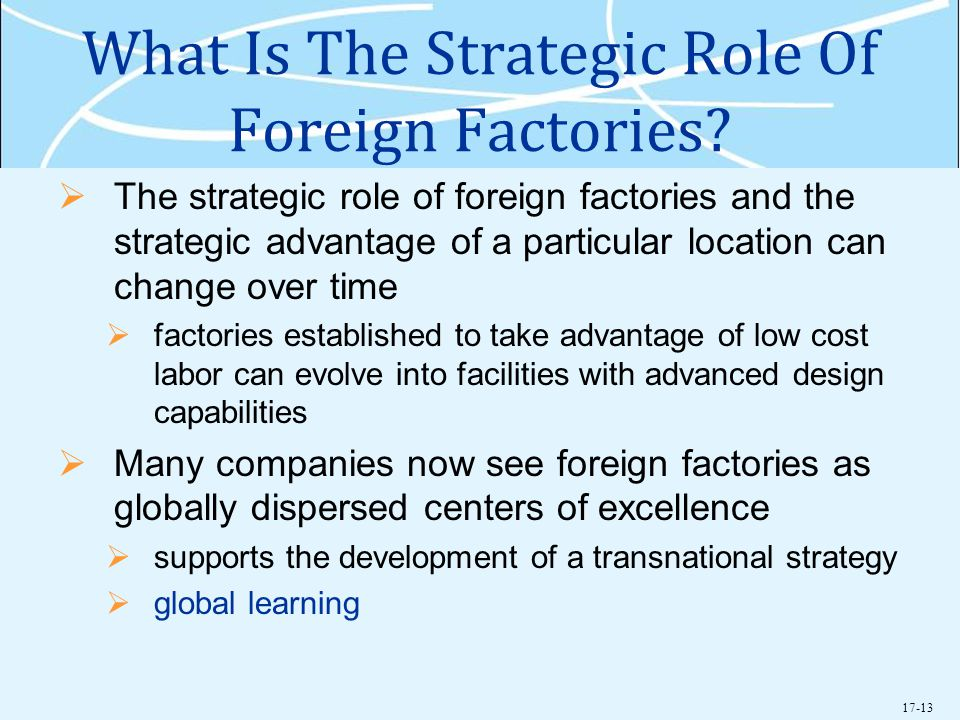 What Is The Strategic Role Of Foreign Factories