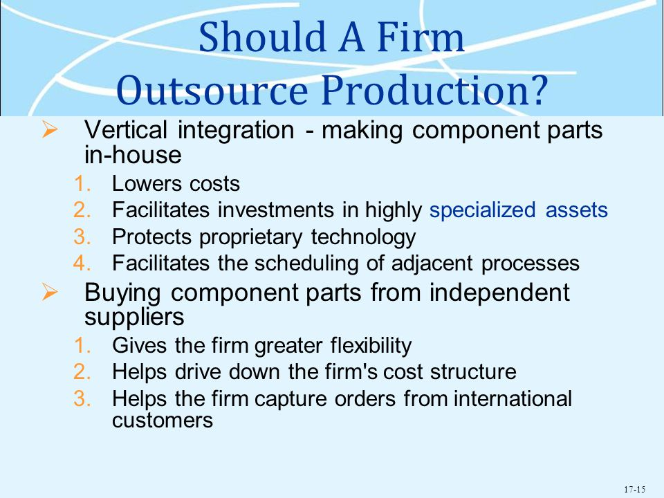 Should A Firm Outsource Production