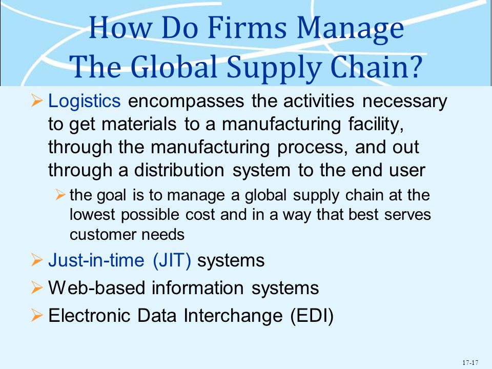 How Do Firms Manage The Global Supply Chain