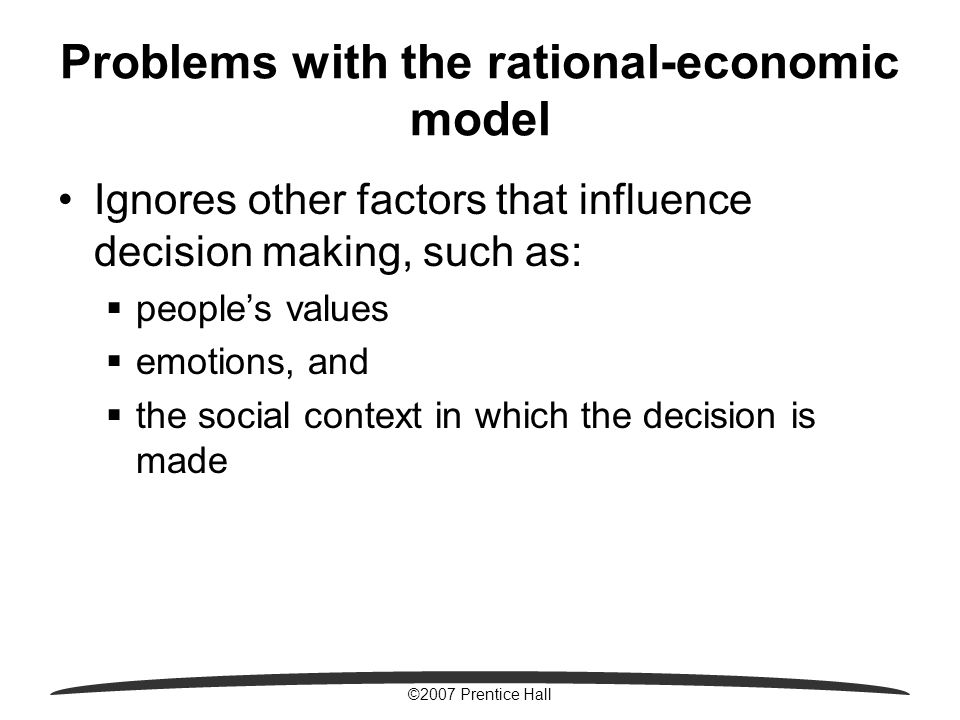 rational decision making is business organizations Herbert alexander simon (june 15, 1916 – february 9, 2001) was an american  economist and political scientist whose primary interest was decision-making  within organizations and is best  simons defined the task of rational decision  making is to select the alternative that results in the more preferred set of all the.