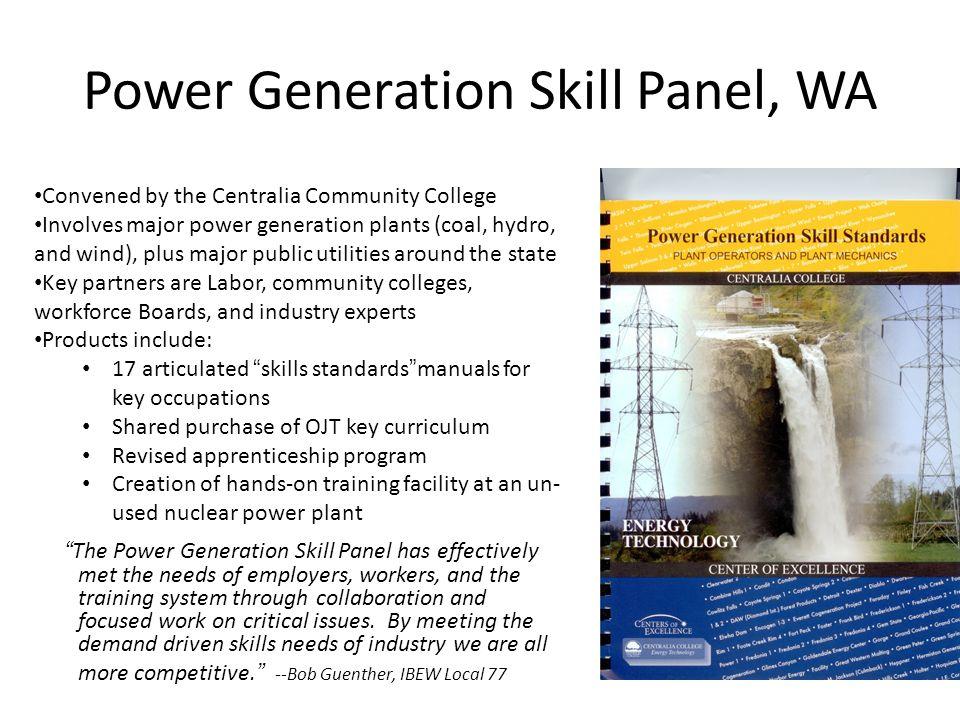 Power Generation Skill Panel, WA
