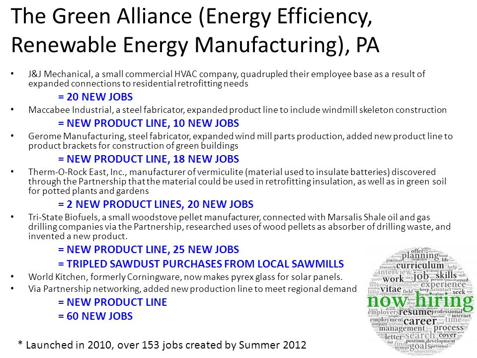 The Green Alliance (Energy Efficiency, Renewable Energy Manufacturing), PA
