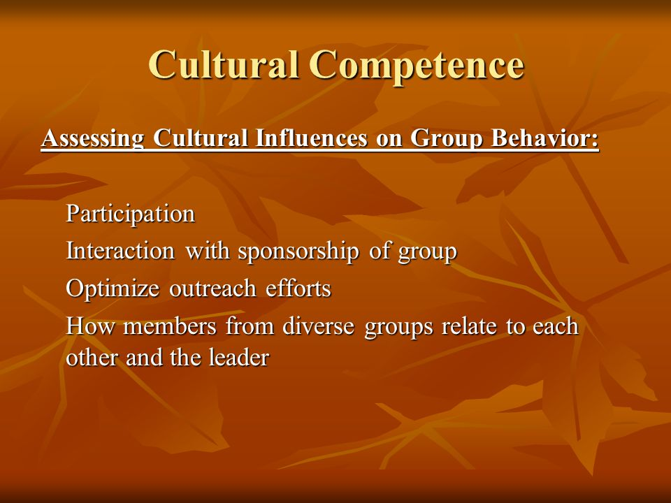 Cultural Competence Assessing Cultural Influences on Group Behavior: