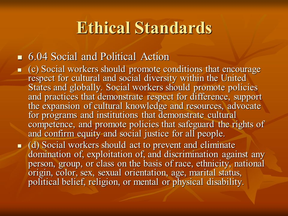 Ethical Standards 6.04 Social and Political Action