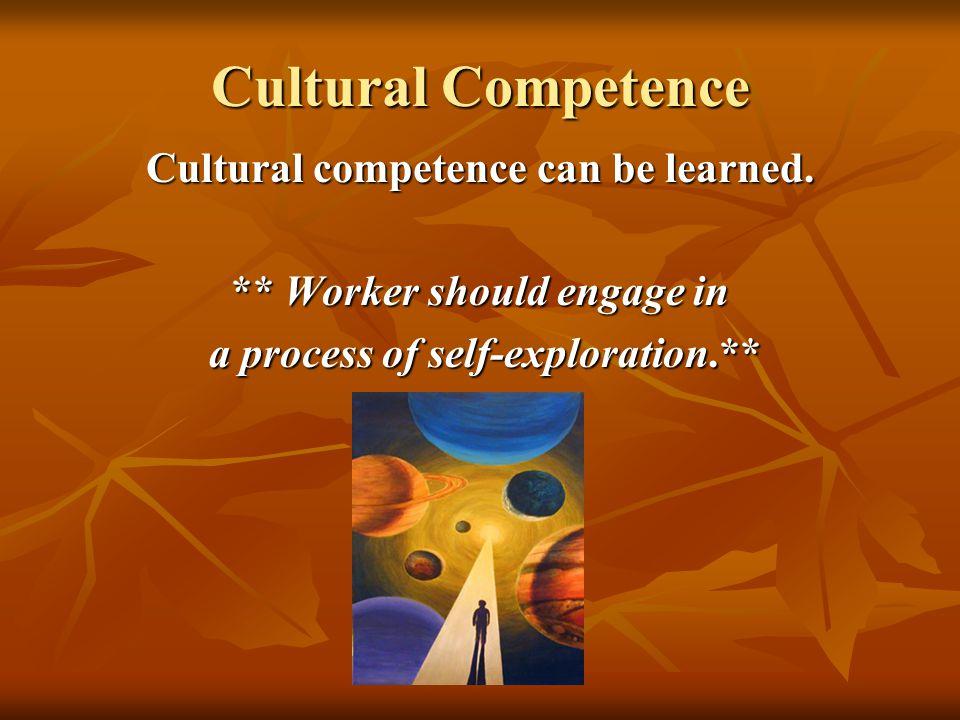 Cultural Competence Cultural competence can be learned.