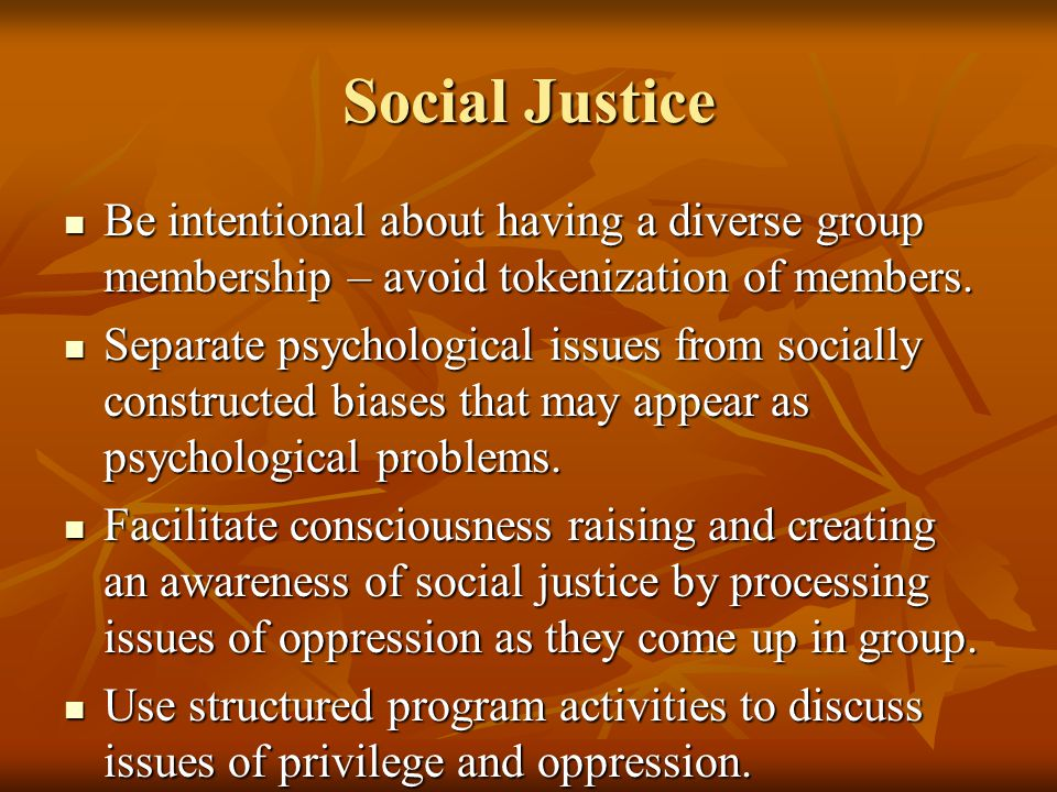 Social Justice Be intentional about having a diverse group membership – avoid tokenization of members.