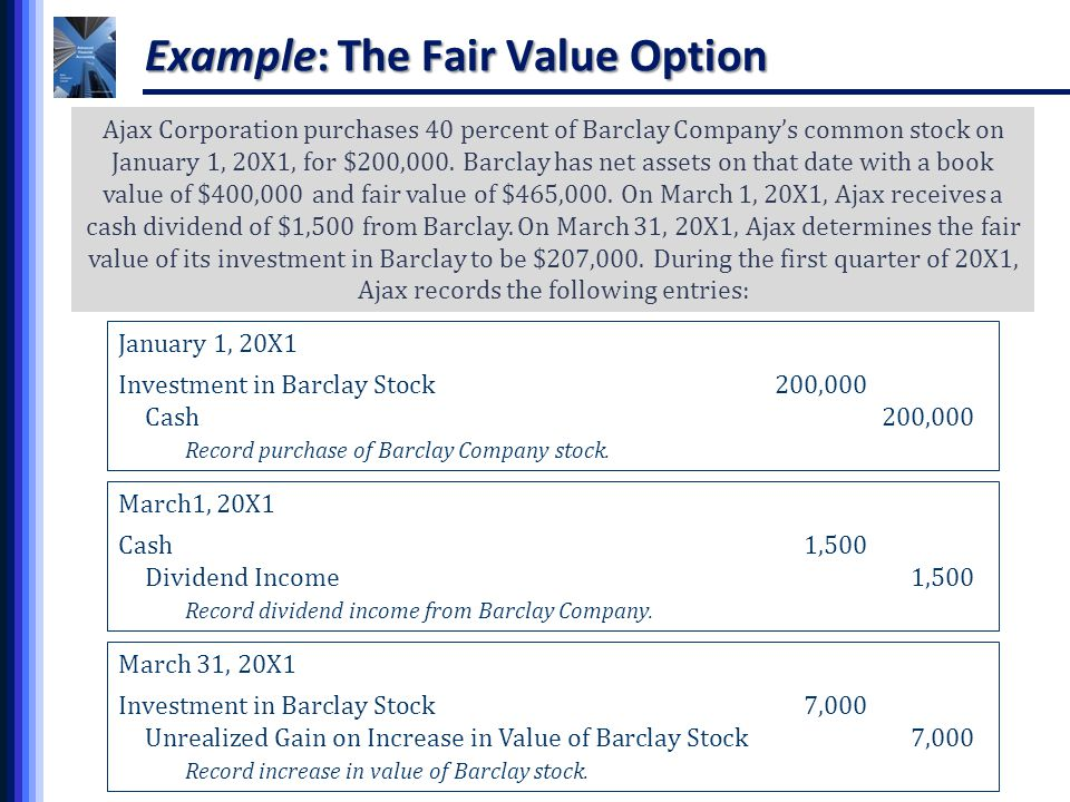Fair value approach stock options