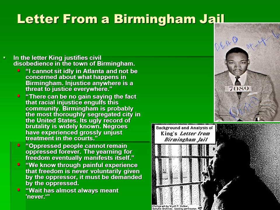 """civil disobedience and letter from birmingham jail essay View homework help - comparison contrast assignment from science 101 at druid hills high school """"civil disobedience"""" and """"letter to birmingham jail"""" comparison/contrast assignment."""
