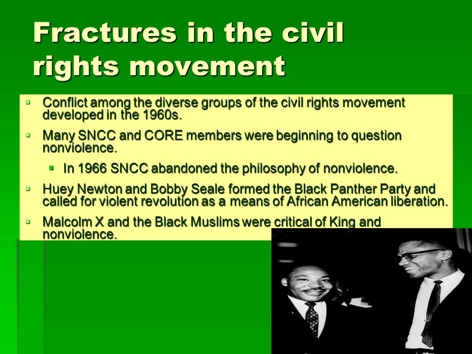 nonviolence and the civil rights movement The civil rights movement was a mass popular movement to secure for african americans equal access to and opportunities for the basic privileges and rights of us citizenship although the roots of the movement go back to the 19th century, it peaked in the 1950s and 1960s african american men and .