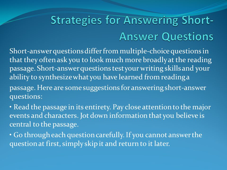 Strategies for Answering Short-Answer Questions