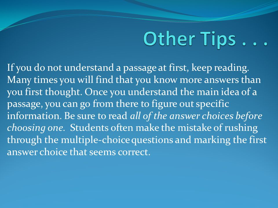 Other Tips . . .