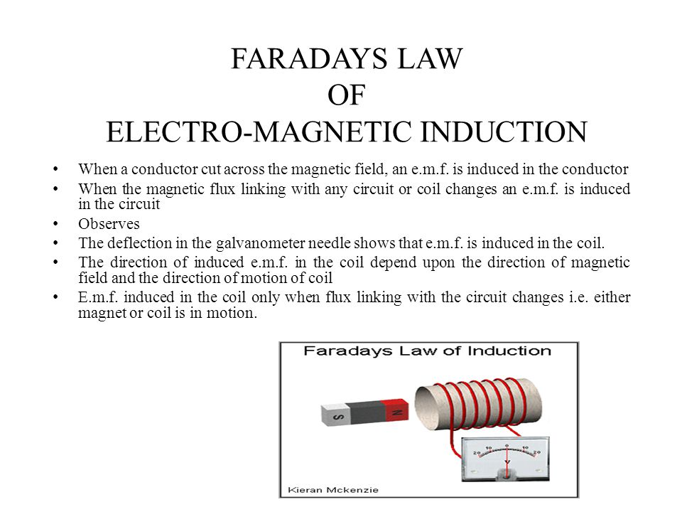 faradays law of induction Faraday's law of induction: is a basic law of electromagnetism predicting how a magnetic field will interact with an electric circuit to produce an electromotive force (emf) electromagnetic induction: is the production of a potential difference (voltage) across a conductor when it is exposed to a varying magnetic field.