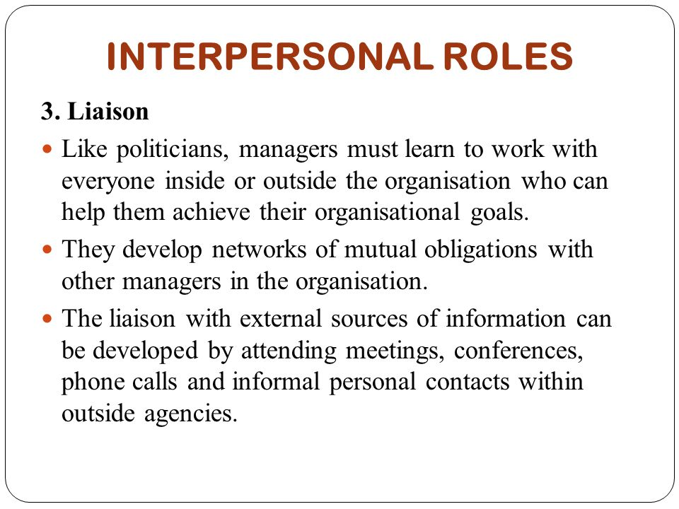 interpersonal role managers Let us go through the role of employees in interpersonal relationship development msg management study guide home library   role of managers in relationship.