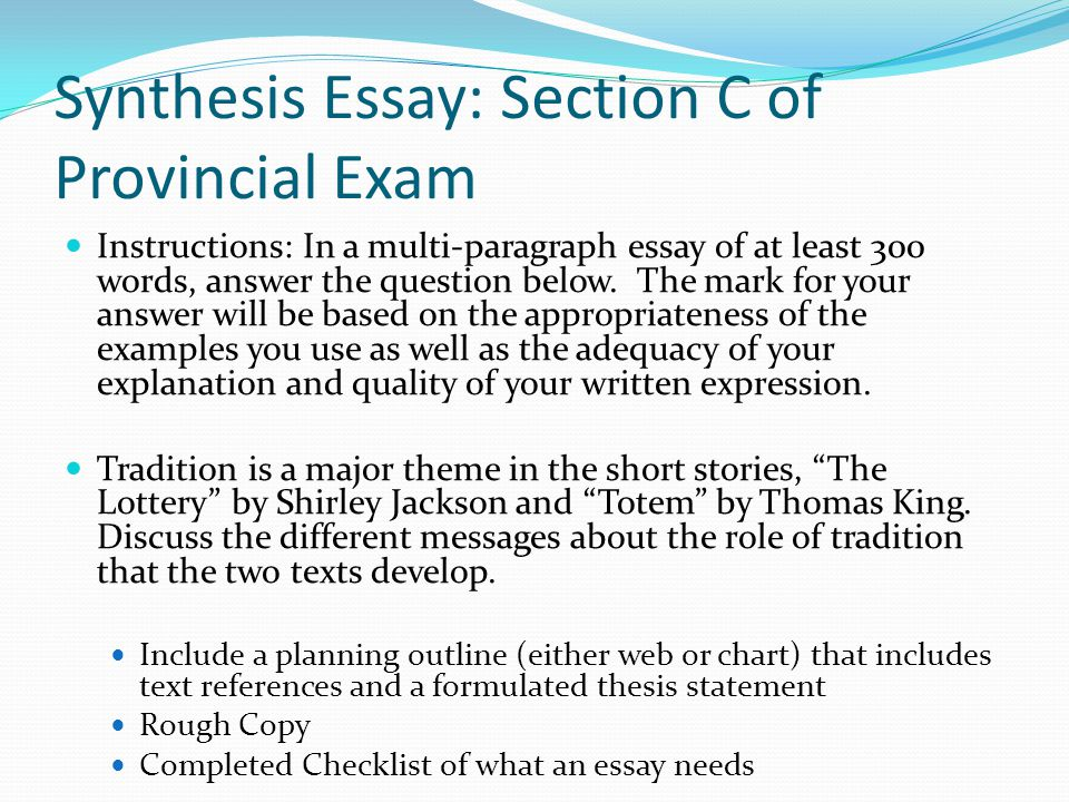 synthesis paragraph How to write a synthesis essay the paragraphs and content should be concise, logical and concrete because even though the style is important.