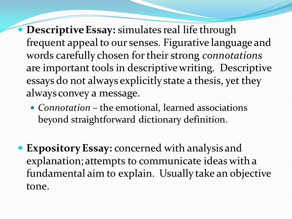 descriptive essay figurative language A a good descriptive essay maintains a third-person neutral voice b a good descriptive essay follows a very specific formulaic structure c a good descriptive essay includes the use of vivid imagery and figurative language d a good descriptive essay develops a particular point and backs it with factual evidence.