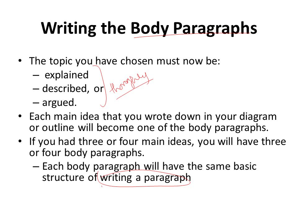 How to write body pararaphs in an essay