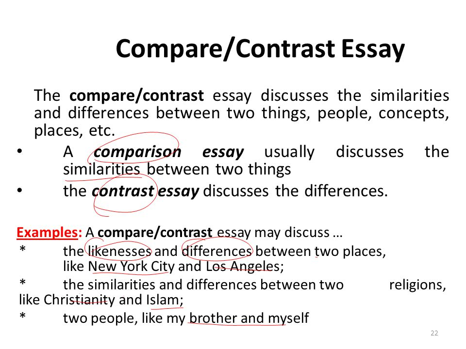 compare and contrast presentation outline essay The most common outline for compare and contrast essay projects is known as the point by point method here, the outline is split into three separate sections the first is the introduction this, of course, introduces the two subjects that are to be contrasted or compared.