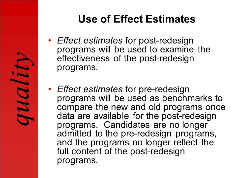 Use of Effect Estimates