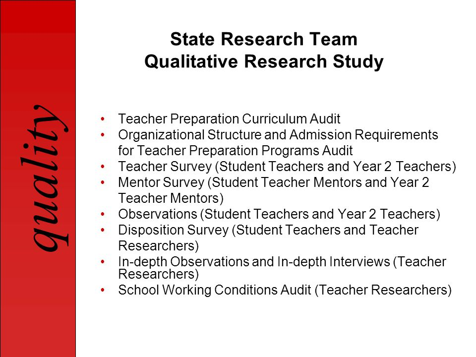 State Research Team Qualitative Research Study