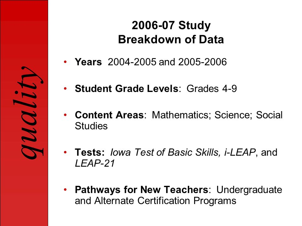 2006-07 Study Breakdown of Data