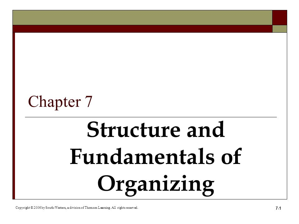 Structure and Fundamentals of Organizing