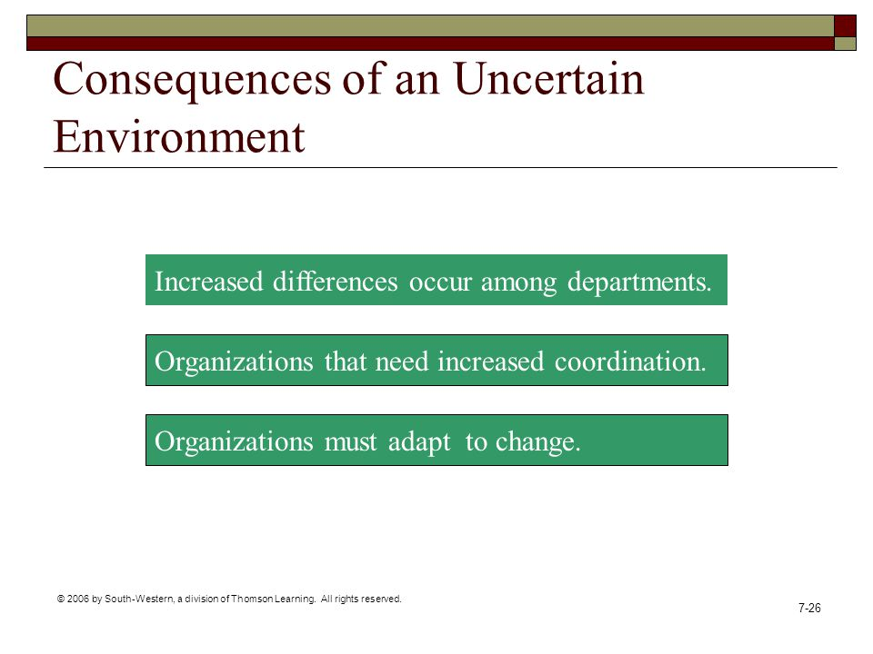Consequences of an Uncertain Environment