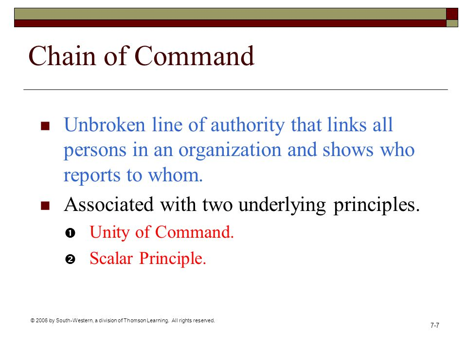 Chain of Command Unbroken line of authority that links all persons in an organization and shows who reports to whom.