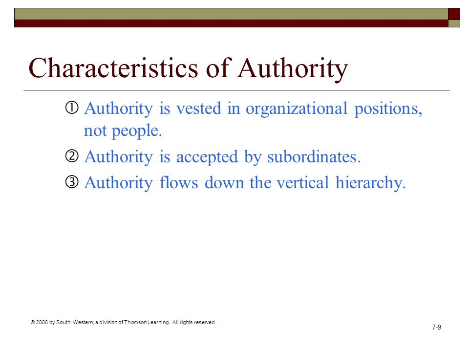 Characteristics of Authority