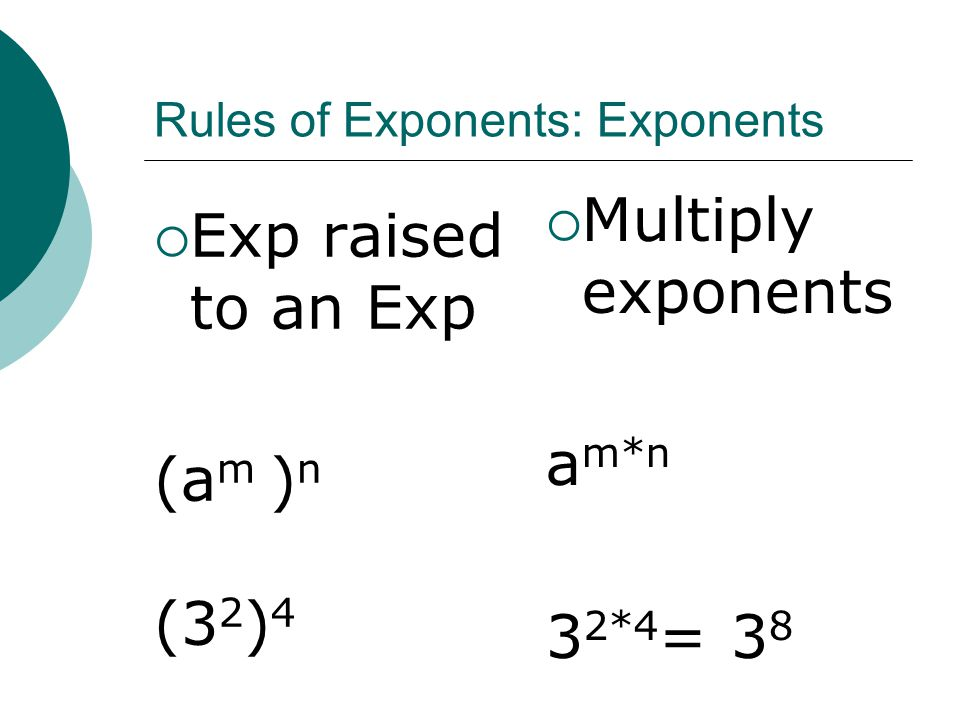 Rules of Exponents: Exponents